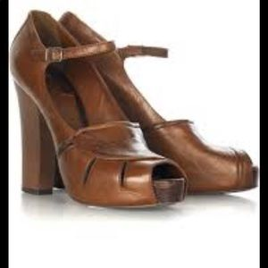 Chloe Grained Leather Sandal Heels Cognac Brown 38